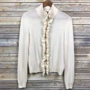 Tory Burch Merino Wool Ruffle Sweater Logo Buttons